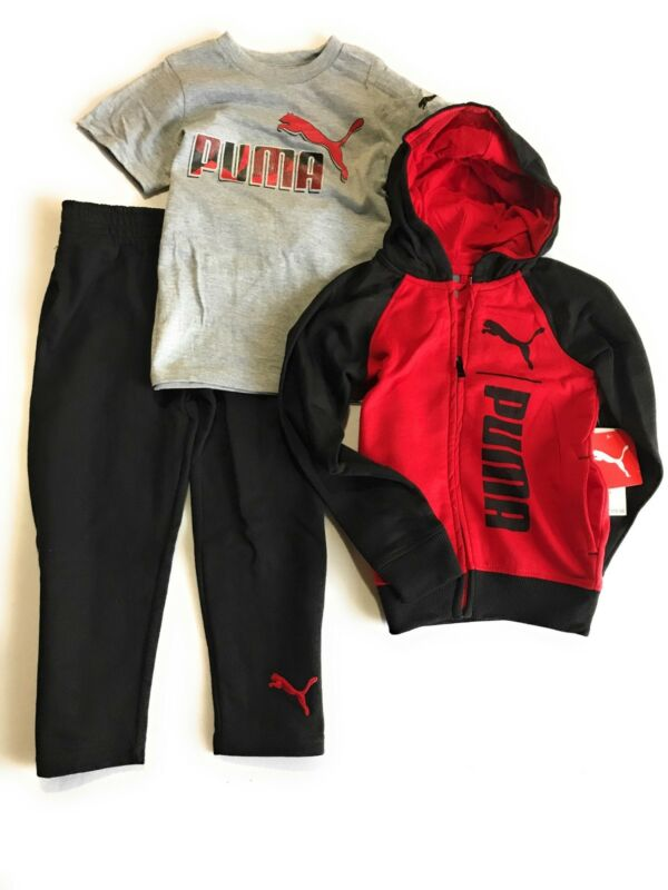 Puma Boys 3- Pieces Set Hoodie T-Shirt and Pants
