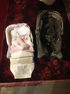 Baby car seat & baby bed on the road