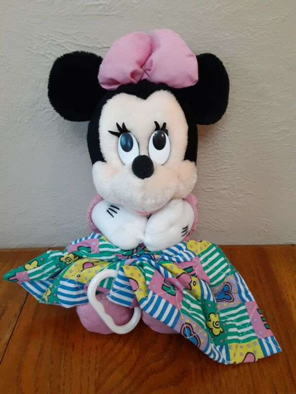 Vintage Minnie Musical Plush Doll Pull Toy Lovey Blanket Lullaby Disney 13""