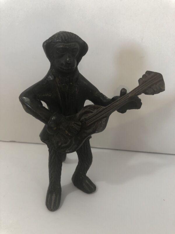 Brass Monkey Playing Guitar Figurine