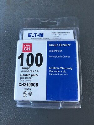 1 Cutler Hammer Eaton Ch2100 2 Pole 100 Amp Main Circuit Breaker New