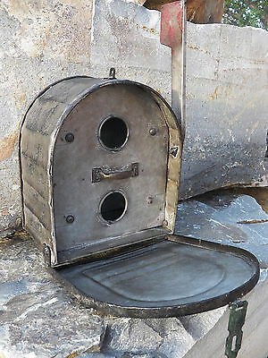 Functional Industrial Galvanized Metal Mailbox Style BIRDHOUSE Bird House