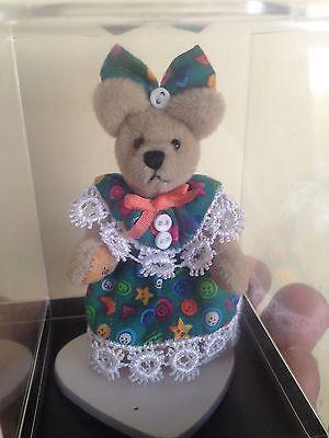 "World of Miniature Bears ""SAM"" Upholstery Jointed Girl bear in dress  W/BOX CUTE"