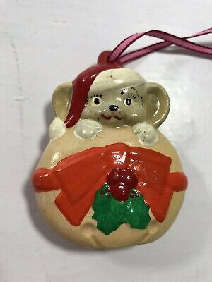 Vintage Ceramic Christmas Mouse Bow Ornament Holiday Decoration Display Tree