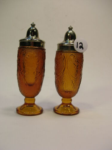 Set of TIARA Indiana VTG Sandwich Glass Amber Salt & Pepper Shakers