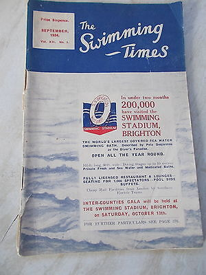 The Swimming Times Sept.1934 -  'Besford Wins Hitler's Prize' etc