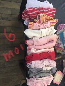 Lot vêtements fillettes 6 mois