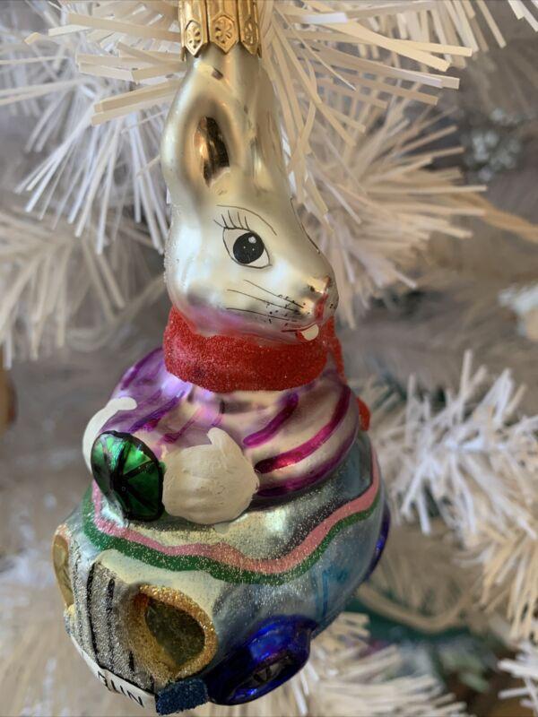 "RADKO ORNAMENT EGG ROLL 1-BUN CAR BUNNY IN CAR 4 1/2"" Easter Rabbit"