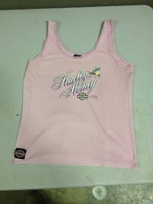 1991 3D Harley Honey Davidson Womens Pink Tank Top Lacey Size XL (b32m)