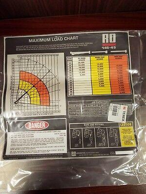 Max Load Chart Placard For Tc-145-45 Boom Crane Truck654-00301