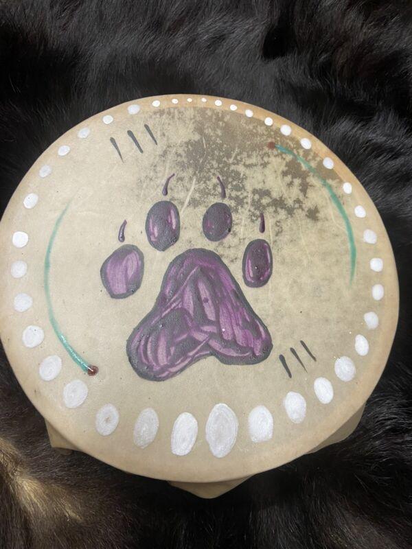 "Native American drum 10"" Hand drum pow wow Wolf Earth Pigment Paints Design Drum"