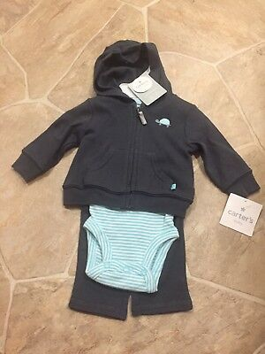 Carters Baby Boy Little Layette NEWBORN Turtle Gray Blue Stripe Hooded 3 Piece