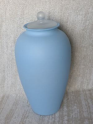 "Large 14 1/2"" Lt Blue Matte Finish Frost Knob Lid Glass Apothecary Storage Jar"