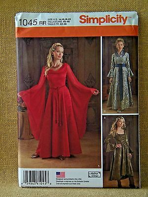 SIMPLICITY PATTERN 1045 MEDIEVAL GOWN DRESSES COSTUME SIZES 14 16 18 20  UNCUT