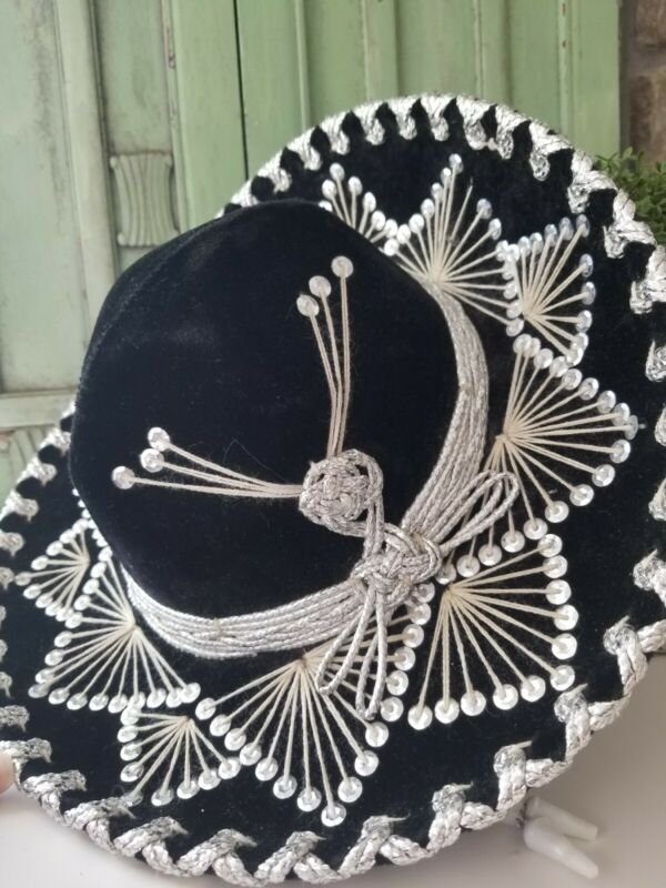 Authentic CHILD SOMBREROSalazar Yepez Mexican Hat Black Velvet Silver