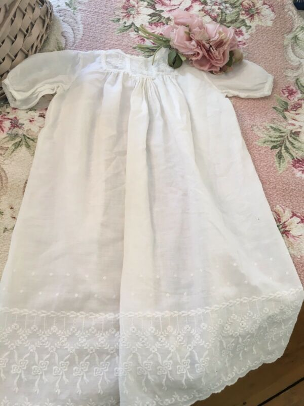 Lovely Antique Babies Christening Dress White Cotton Floral needlework lace #B