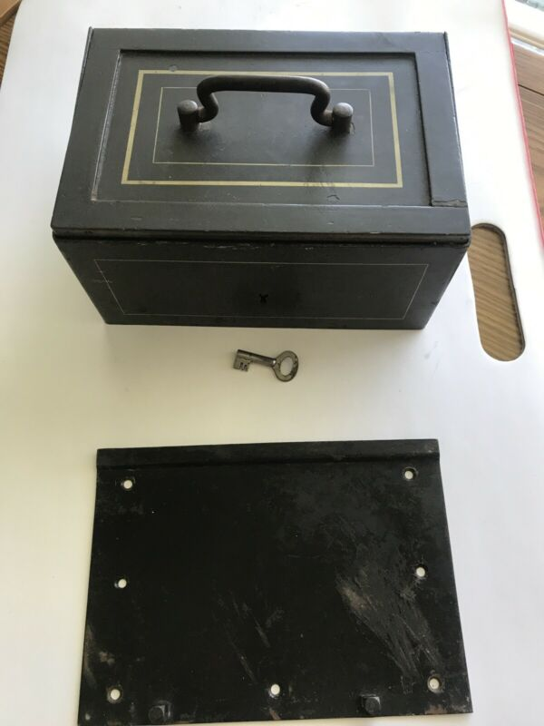 Bash Hnos & Ca Vintage Safe Lock Box Buenos Aires 951. With Key & Bottom Plate