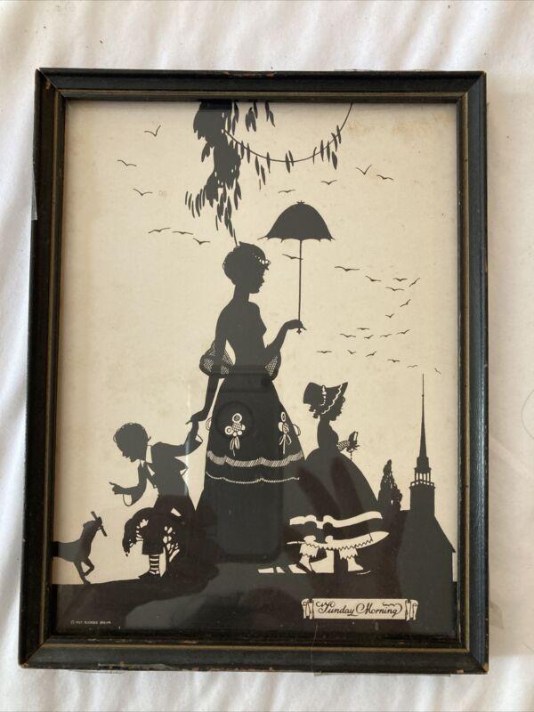 1927 Framed Glass Silhouette BUCKBEE BREHM Sunday Morning Wall Art Vintage