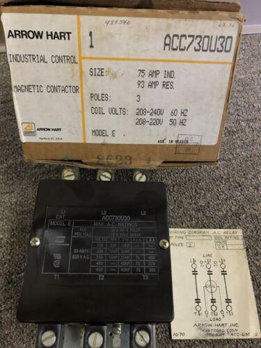 Arrow Hart Contactor ACC730U30 208/240V Coil 93A 600V Used