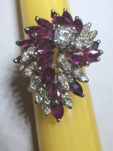 Lady 14kt yellow gold diamond cocktail ring with genuine marquise rubies NEW
