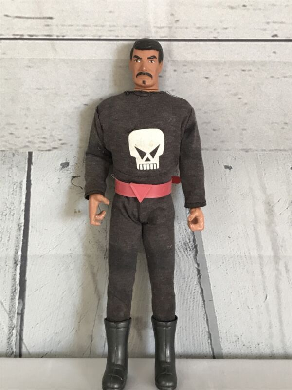 """1990's 12"""" Frontier Hero Doll By In Time Products Skull Jumpsuit Boots Mustache"""