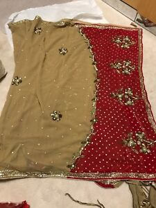 Brown and red lengha
