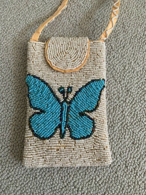 Authentic, Handmade Panamanian Beaded Chacara Bag - Turquoise Butterfly Design