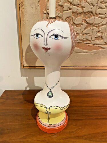 Raymor Vtg Mid Century Italian Modern Pottery Woman Face Form Lamp Italy Bitossi