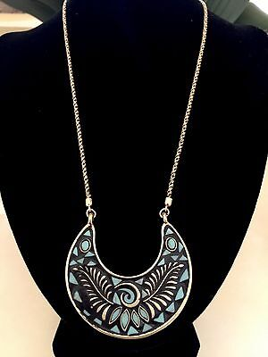 - Lucky Brand Reversible Mosaic Pendant Necklace-Crescent Moon Turquoise Gold