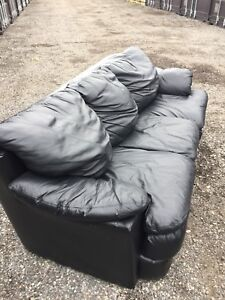 Free delivery: genuine leather black 3 seater couch