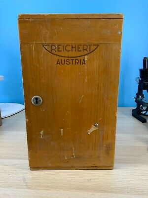 Reichert Austria Wooden Microscope Case With Key