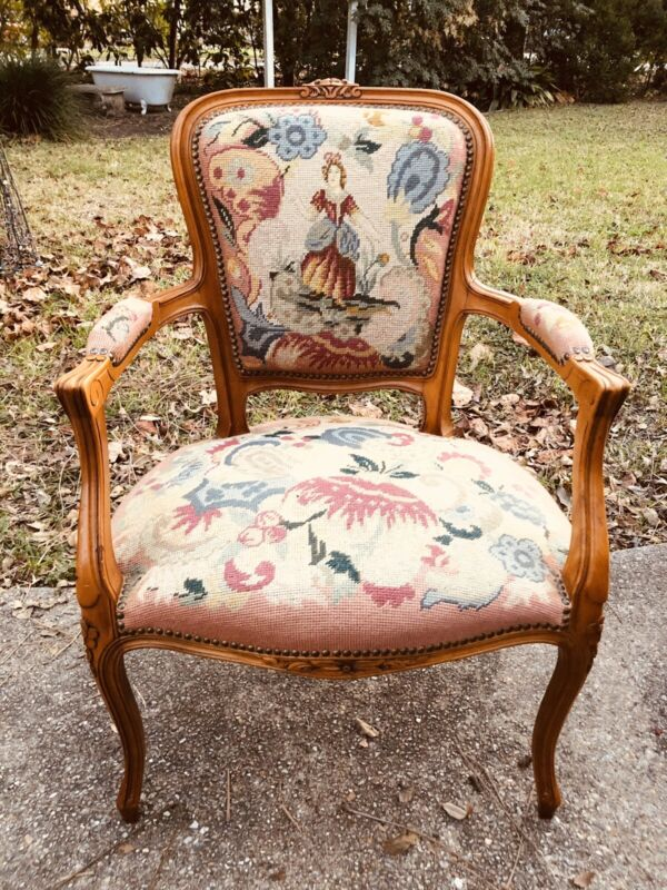 Antique French Carved Louis XV Needlepoint Arm Chair Accent Chair Early 1900