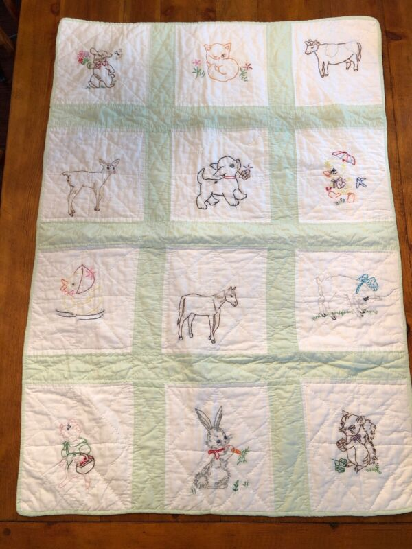 Hand embroidered baby quilt animals mint green white patchwork check boy girl