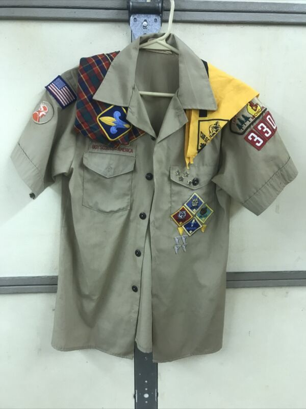 Boy Scouts Shirt with Patches  2 Neckerchiefs And 4 Pins Youth Sz Large