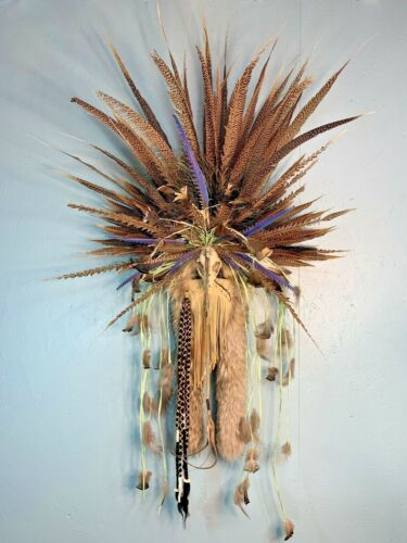 Lisa Ray Ceremonial Algonquin Mask Native American Leather Feathers Fur Skull