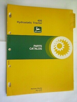 John Deere 400 Lawn Garden Hydrostatic Tractor Parts Catalog Manual Pc-1475