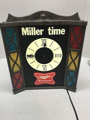 Vtg Deluxe Miller Time Miller High Life Lighted Clock Beer Stained Glass