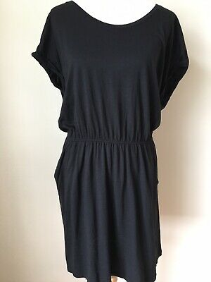 H&M Knit Dress Black Women's Size Large Knee Length Elastic Waist Cap Sleeves