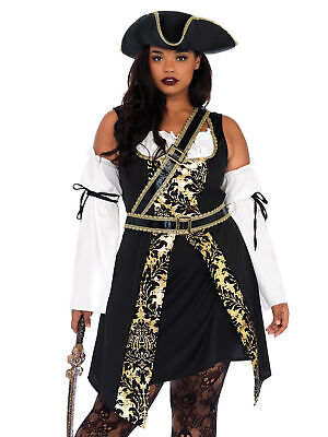 Womens Plus Size Full Figure Black Sea Buccaneer Pirate Captain Costume