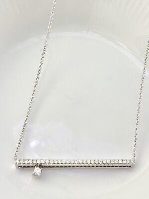 Diamonds Line Sliding Stud Pendant Necklace in 18k Solid W/ Gold ( 0.35 Tcw )