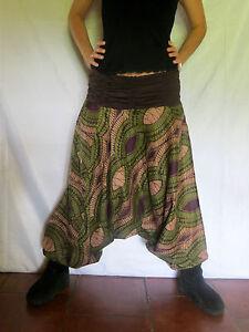 Sarouel ethnique vetements hippie baba cool africain roopa vert - Vetements hippie baba cool ...