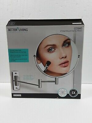 Better Living L, Cosmo 8 in. x 8 in. Wall Mount Makeup Mirror, Chrome 13544