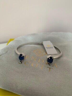 kendra scott cuff bracelet brushed silver / cobalt blue stones