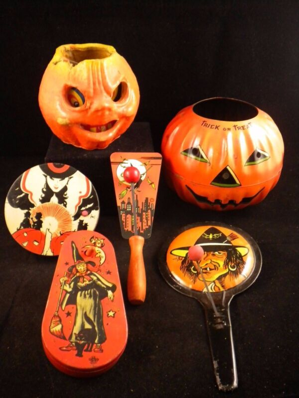 Vtg Lot 6 Halloween Tin Noisemakers, Paper Mache & Jack O