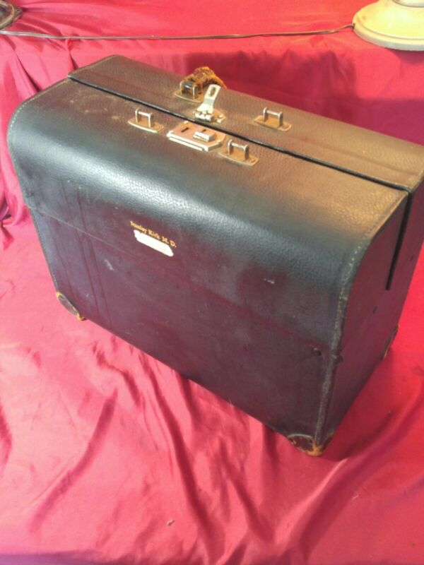 VINTAGE Black Leather HARD SHELL Doctor/Medical Bag, Aged
