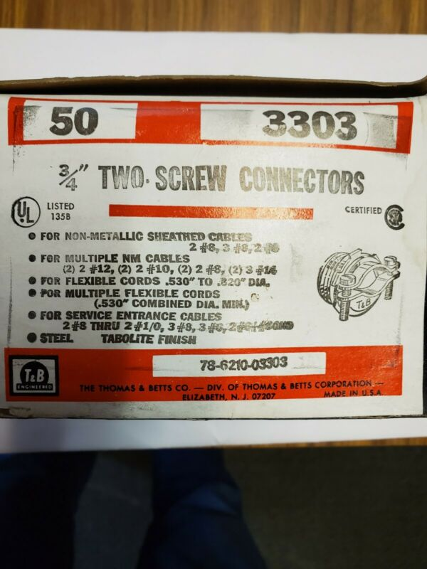 "3303 T&B 3/4"" TWO SCREW STEEL CONNECTORS BOX OF 50"