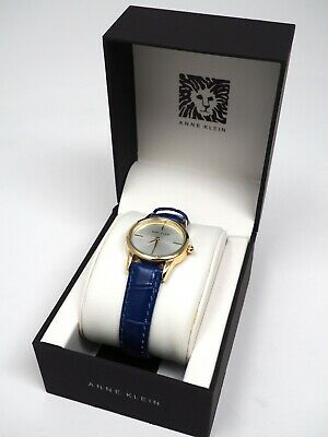 NEW ANNE KLEIN GOLD TONE CROC BLUE LEATHER WATCH AK/0216 NIB