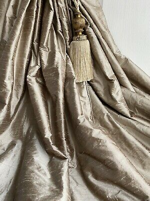 "JAMES HARE Interlined Curtains 100% Silk Dupion Bay/Patio108""d 2.7m *3 Pairs Av."