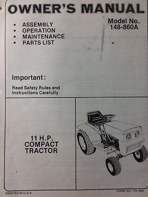 Mtd Riding Lawn Mower Parts - MTD Compact Lawn Garden Tractor Owner & Parts Manual Riding 11 hp Mower 148.860A