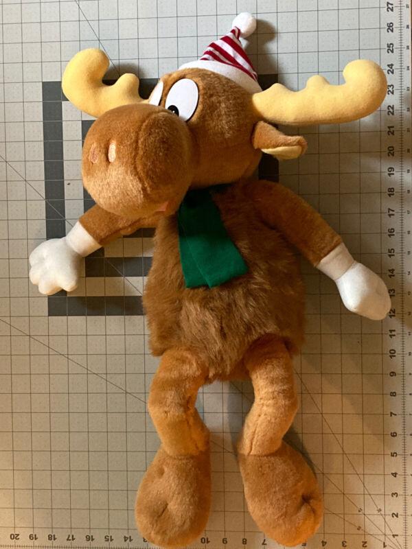 "1996 Rocky & Bullwinkle 25"" Plush Stuffed Animal Toy Christmas Elf Collectible"